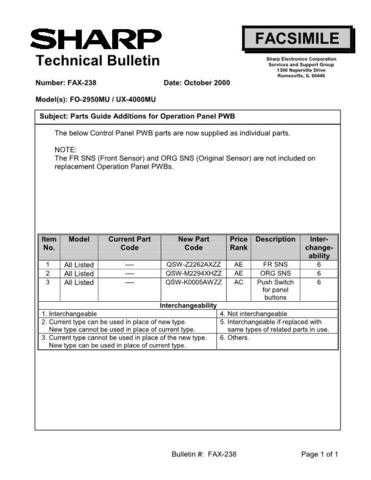Sharp FAX238 Technical Bulletin by download #138969
