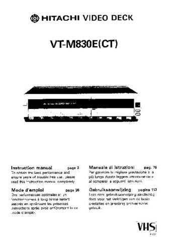 Hitachi VTM840ECT EN Manual by download #171081