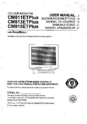 Sanyo CM813ETPLUS EN Manual by download #173633