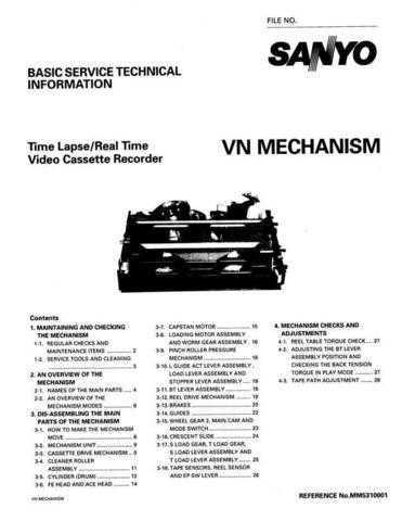 Sanyo Service Manual For MECHANISM VN Manual by download #175955