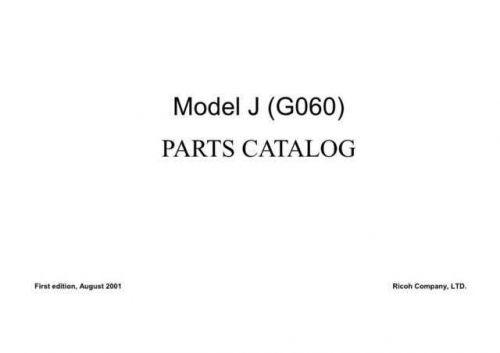RICOH 3800CB (MODEL J MACHINE CODE G060) PARTS MANUAL RICOH AFICIO1013 (STELLA,
