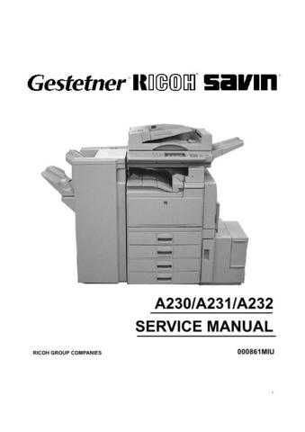 Gestetner A232 Service Manual by download #155166