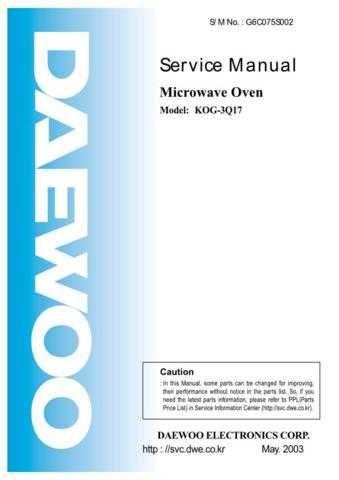 Daewoo KOG-3Q17 (E) Service Manual by download #155032