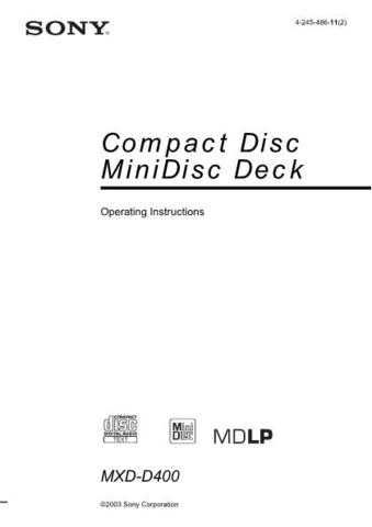 SONY MXD-D400 OPERATING GUIDE by download #167119