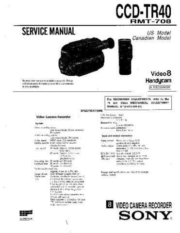 SONY CCD-TR380 Service Manual by download #166387