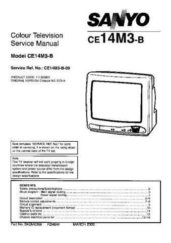 Sanyo CE14M3-B-00 SM-Only Manual by download #172866