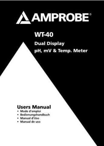 Amprobe WT40 Operating Guide User Instructions by download Mauritron #194670