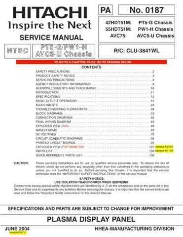 HITACHI 42HDT511 USA Service Manual by download #163364