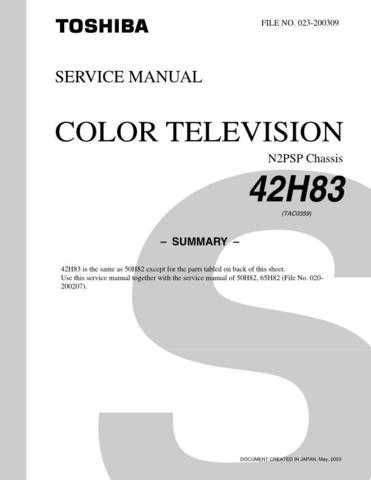 TOSHIBA 42H83 SUMMARY ON by download #129316