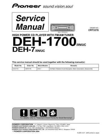 PIONEER C3376 Service Data by download #152933
