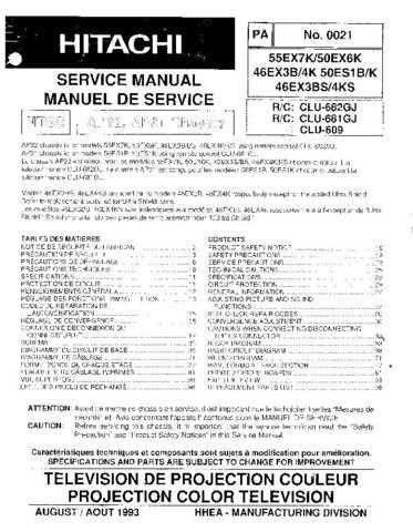 HITACHI 46EX3B USA Service Manual by download #163383