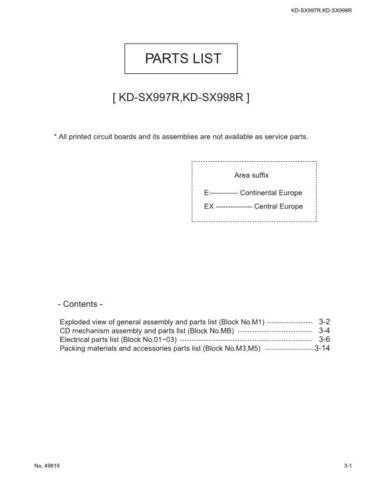 JVC KD-SX998R par Service Schematics by download #156228