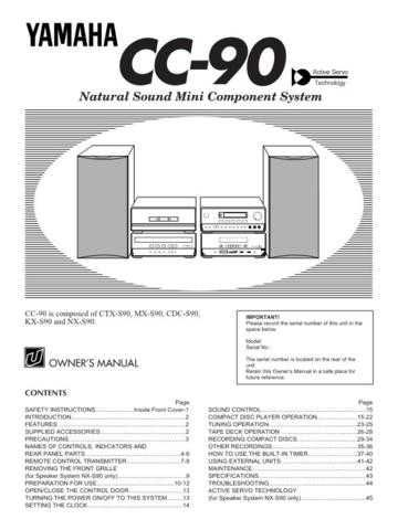 Yamaha CC-90 Operating Guide User Instructions by download Mauritron