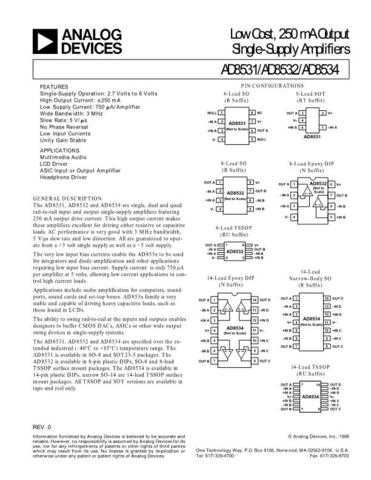INTEGRATED CIRCUIT DATA AD8531 4J Manual by download Mauritron #186389