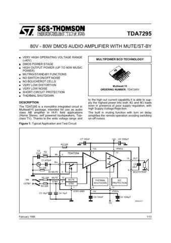 MODEL TDA7295 Service Information by download #124784