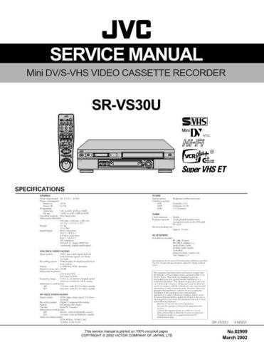 JVC SR-VS30U Service Manual by download #156518
