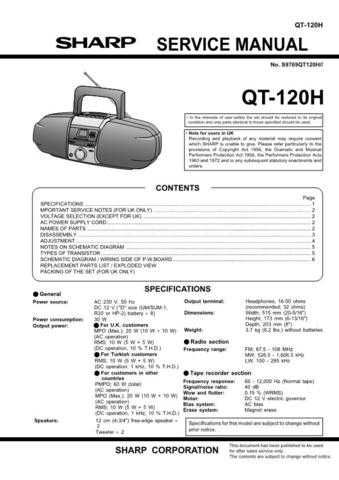 SHARP QT-120H Service Data by download #133876