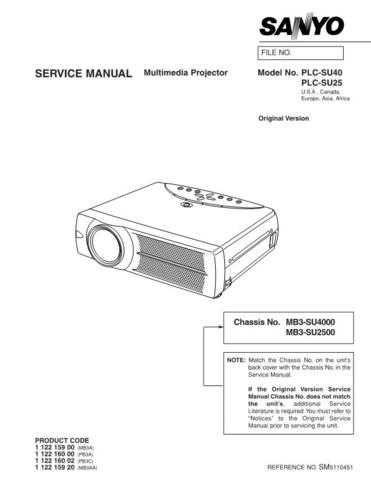 Sanyo PLC-SU10B Manual by download #174772