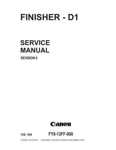 Canon FINISHER D1 Service Schematics by download #135187