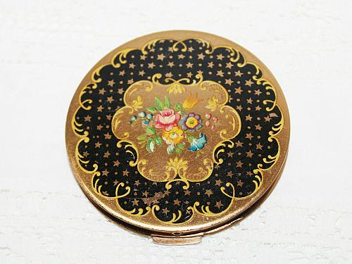Vintage Stratton Brass Compact c1930-1950 Black & Gold Stars Enamel Pink Roses