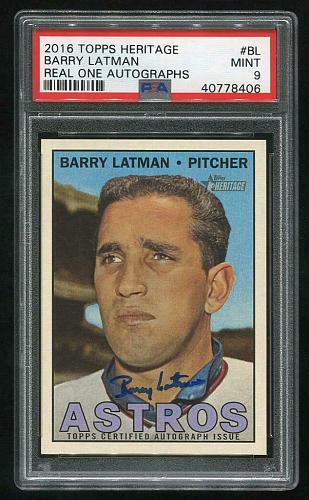 2016 TOPPS HERITAGE REAL ONE AUTO BARRY LATMAN, PSA 9 MINT (40778406)