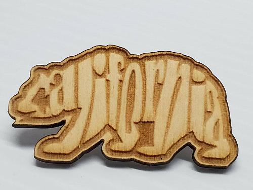 Laser Engraved California Bear Wood Hat Pin