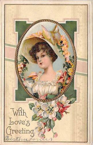 With Love's Greetings, Young woman Framed Embossed Vintage Postcard