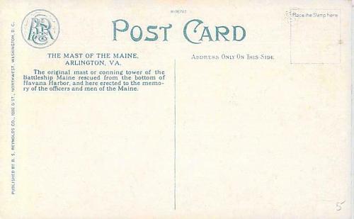 U.S. Navy Mast of the Battleship Maine, Arlington Vintage Unused Naval Postcard