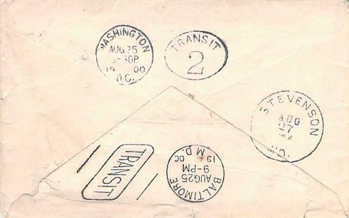 Double American Machine Transit (Washington DC & Baltimore) Back-stamps on Cover
