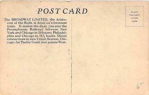 The Broadway Limited, Pennsylvania Railroad Unused Vintage Postcard