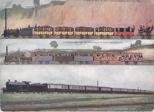 London & North Western Railway Showing 3 Different Era Trains Vintage Postcard