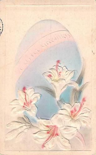 Easter Greetings, Air Brushed Embossed Egg Vintage Postcard