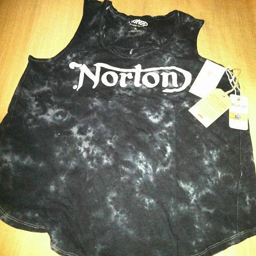 NWT Large Lucky Brand Norton Motorcycle Batik Black Womens Tank Top