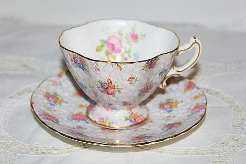 Hammersely Chintz Teacup & Saucer Pink Roses Chintz English Teacup & Saucer