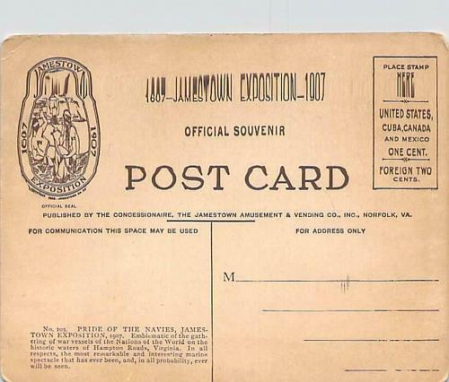 Pride of the Navies, Jamestown Exposition 1907 Official Postcard