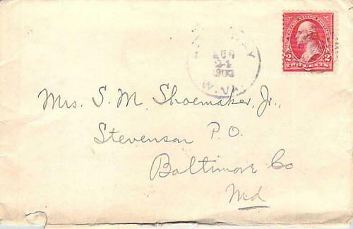 Hathaway W. Virginia DPO (1900-1911),1900 American Machine Transit Back-stamps