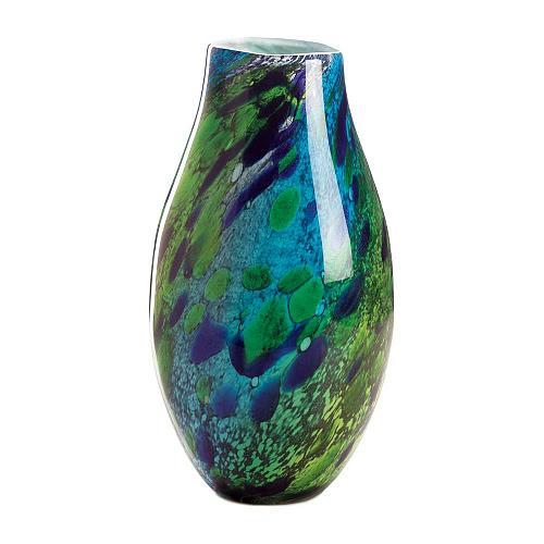 *18217U - Peacock Inspired Blue/Green Art Glass Vase