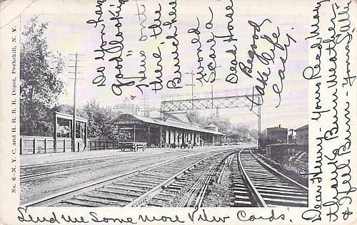 N.Y.C. and H.R. Railroad Depot, Peekskill, NY. Vintage Postcard