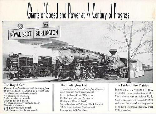 Burlington Route, Royal Scot and Burlington Railroad Vintage Postcard