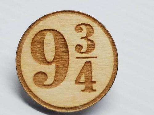 Laser Engraved Harry Potter 9 3/4 Wood Hat Pin