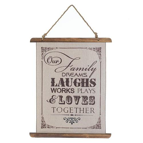 *18385U - Our Family Laughs Together Linen Wall Art