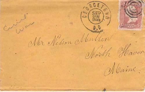 1862 Civil War Georgetown D.C. to Maine, Enclosed Soldiers Letter Rebel POW