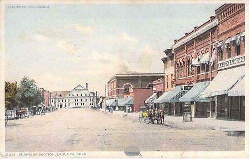 Business Section, La Juanta Colo Unused Phostint Vintage Postcard