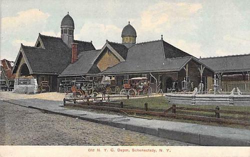 Old New York Central Depot, Schenectady, NY Vintage Postcard