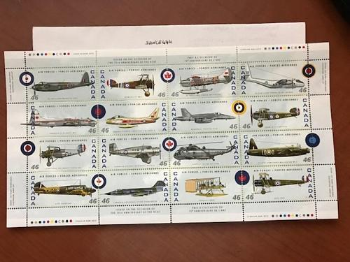 Canada Air Force planes m/s mnh 1999