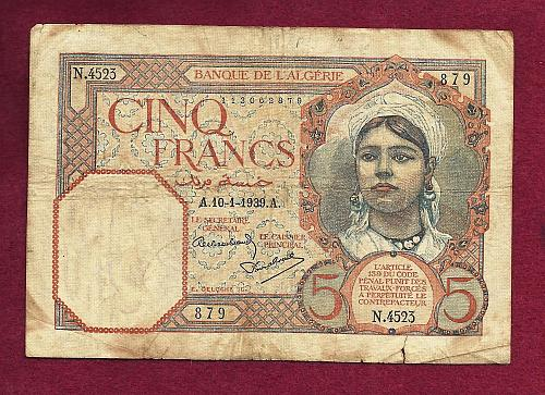 Algeria (Tunisia) 5 Francs 1941 Banknote 113062879 - Historic WWII Currency !!