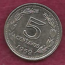 "ARGENTINA 5 Centavos 1959 Capped Liberty Head ""LIBERTAD"" Coin"