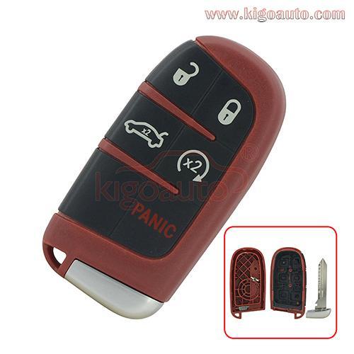 Red Smart key case 5 button for Dodge Charger Challenger Chrysler 300 M3N-40821302