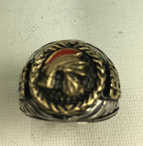 10K Gold Roman Centurion Mens sterling silver Pinky ring