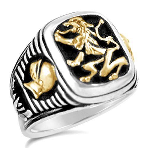 Bavarian Lion Knight Signet sterling silver mens ring lge.